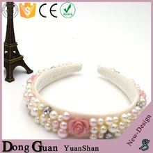 2016 new design elastic telephone wire hair band wholesale kids white girl baby toddler lace pearl flower headband
