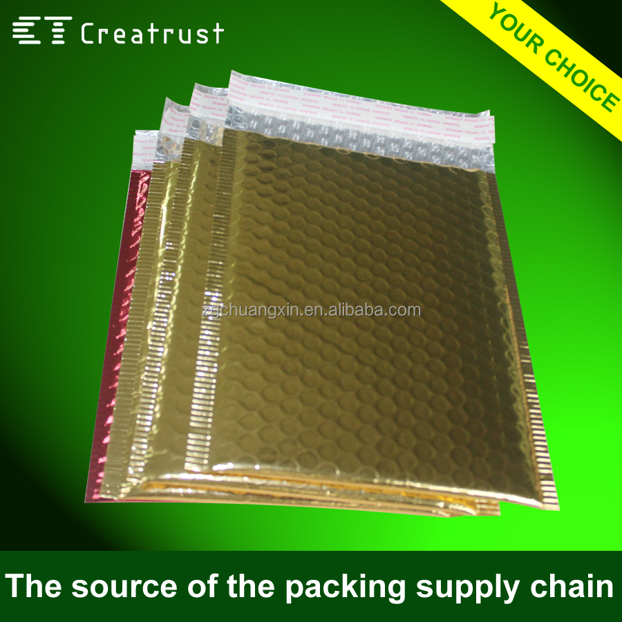 wholesale post padded envelope aluminum foil waterproof metallic poly bubble mailer