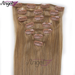 Wholesale 20inch 50cm Clip in Hair Extensions 100% human hair Extension 70gram OEM