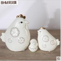 Wholesale 3pics set chicken cute white ceramic animals for home decoration