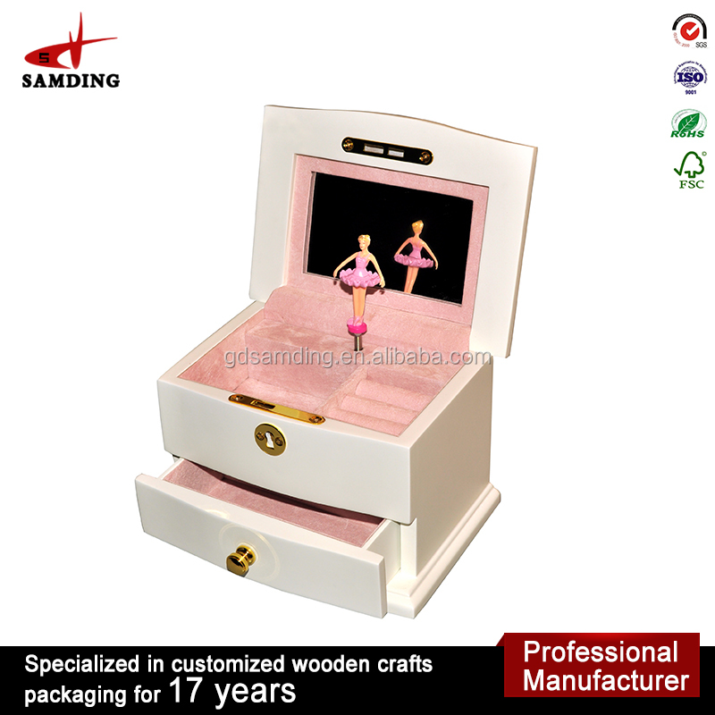 Luxury Wooden Veneer Inlay movements ballerina Music Jewelry Box for gift