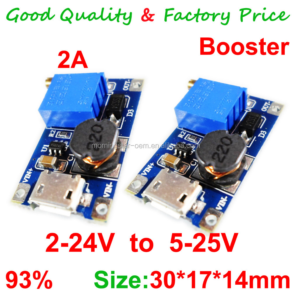 MT3608 DC-DC Adjustable Boost Module 2A Boost Plate 2A Step Up Module with MICRO USB 2V - 24V to 5V 9V 12V 28V LM2577