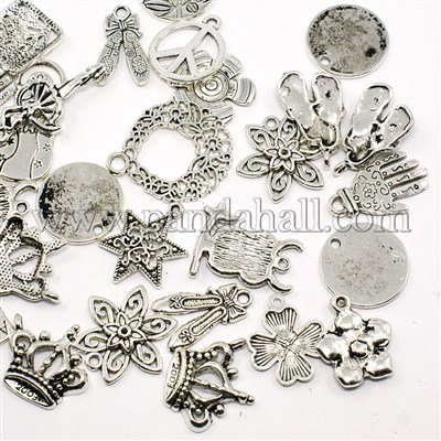Wholesale Mixed Shape Tibetan Silver Alloy <strong>Charms</strong> for Jewelry (TIBEP-D061-01AS)