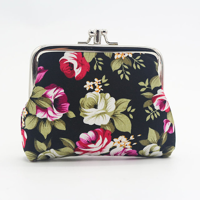Fashion Women Coin Purse Cute Flower Printing Ladies Small Purse Coin Two Metal Button Pocket Coin Pouch Key Credit Card Holder