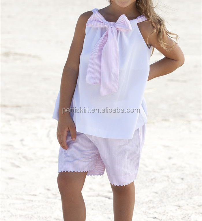 White top with pink seersucker shorts set baby summer clothes set boutique remakes