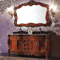 WTS3088 antique brown oak cabinet and mirror three holes and double basin bathroom vanities