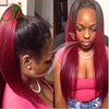 8A Virgin Hair Full Lace Human Hair Wigs Ombre Glueless Front Lace Wigs #1B/Burgundy Two Tone Lace Wig Straight