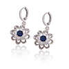 27895 Xuping Korean flower shaped zircon pendant eardrops, rhodium gold plated elegant dropped earrings