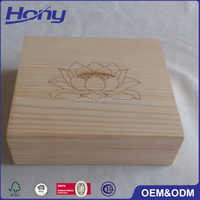 Customized Brand Logo Hinged Pine Wood Essential Oil Packaging Box