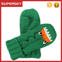 C1549-2 green child animal knitted mitten with fleece lined