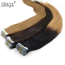 Indian two color ombre skin weft seamless remy tape hair extensions
