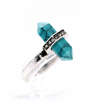 Turquoise Stone Rings Vintage Rings for Women&Men Antique Silver Ring Unisex Personality Oval Turquoise Finger Anillos
