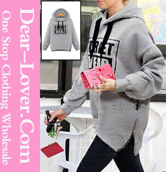 Customized 2015 plus size women Grey Street Fashion cashmere Hoodie with Side Zipper