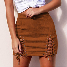 Autumn Winter Lace Up Front Short Pencil Skirt Designs Suede Lady Skirt