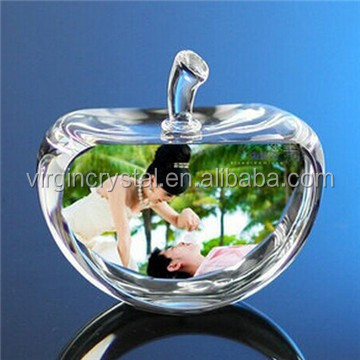 Wedding Gift apple shape Love photo frame for Crystal Paperweight with 3D Laser Engraving