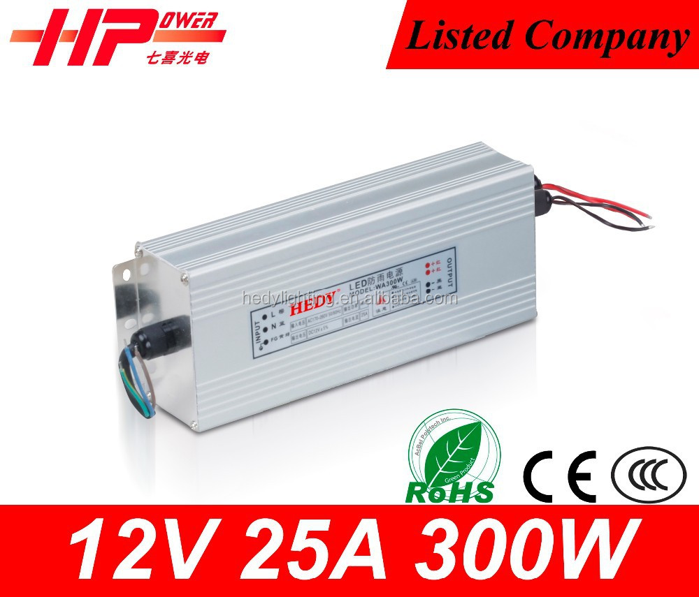 China manufacturer selling single output 12v led power supply and Rainproof function 25a 300W dimmable led driver