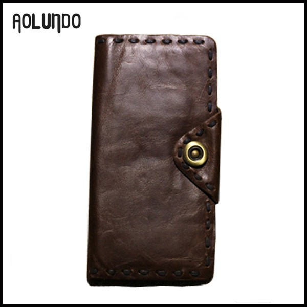 New human Vintage top oiled wax hasp genuine cowhide leather wallet case