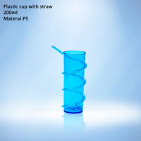 travel souvenir cup,plastic cup with straw