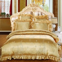 Tribute satin lace 4pcs bed sheet set 100% cotton Jacquard bedding fabric hotel Duvet Cover, Pillow Case and Bed
