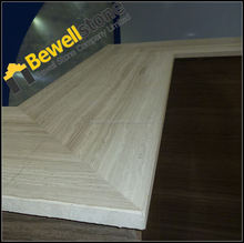 White Wood Vein Marble Fabricated Marble Slab Table Top For Restaurant