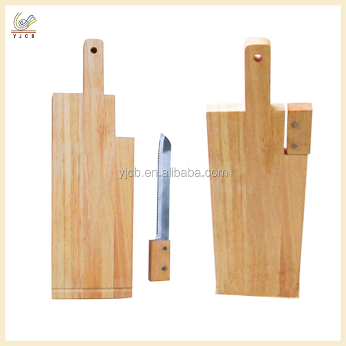 Chopping Blocks kitchen wood cutting board with integrated s/s knife