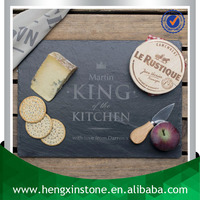 Handmade Wholesale Cheap Natural Edge 35*25*0.5cm Rectangular Black Slate Dish With Laser Design(Customized)