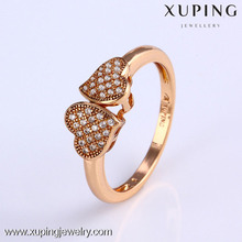 11787-Xuping New Love Gift Brass Jewelry Double Heart Zircon Ring for Girls