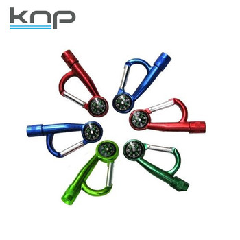 Promotional Carabiner Compass keychain aluminum night light led mini torch