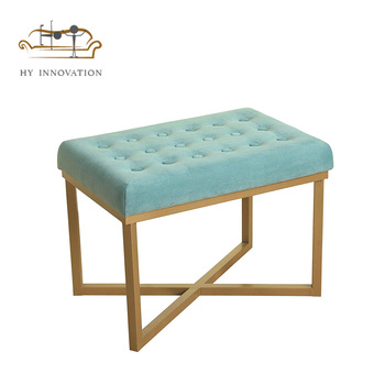 Luxury velvet footstool metal gold ottoman for hotel living room use furniture