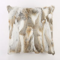 Wholesale Customed Handmade Home Decorative Real Rabbit Fur Sofa Cushion Cover