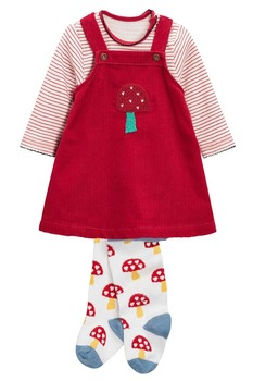 2016 kids corduroy fabric with pattern Dress bodysuit And Tights Set