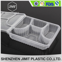 Disposable plastic clear box lunch with 4 lattice good quality