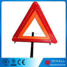 Long distance caution warning safety reflective triangle Folding tool set led triangle