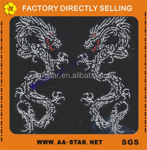 Hot fix garment accessories rhinestone dragon design motif transfer