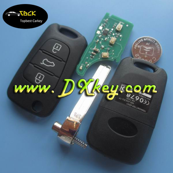 High quality 3 buttons car remote key with 46 chip and 433Mhz for Hyundai I30 key Hyundai remote control car