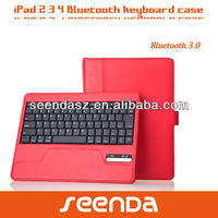 CE Approved Pink/Red Leather Case Bluetooth Keyboard for iPad3
