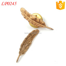 Unique men boutonniere antique metal feather pin for wedding clothing