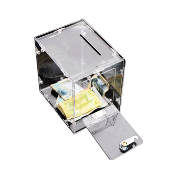 Custom acrylic clear money donation box/donation storage box