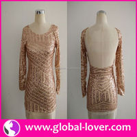 New stylish round neck long sleeve dresses for middle aged women