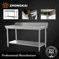 Restaurant appliance supplier stainless steel kitchen table with shelf and splash