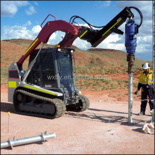 Excavator ground screw pile driver for solar project panel screw pile installation