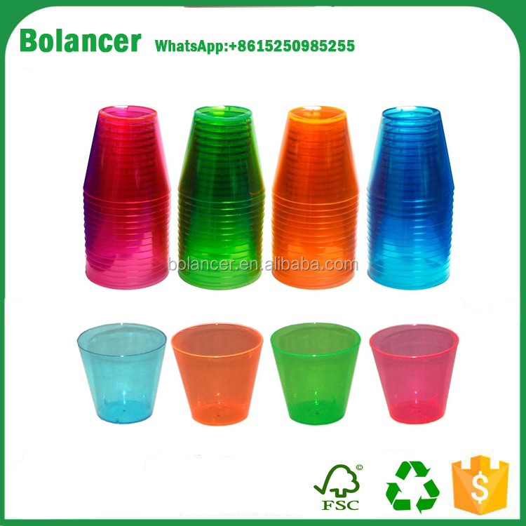 Bolancer Hard Plastic 2-Ounce Shot/Shooter Glasses, 60-Count, Assorted Neon