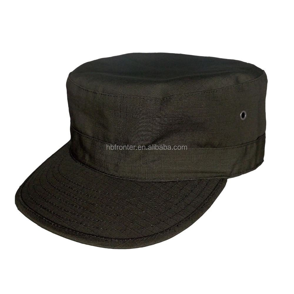 Military inspired cap Solid Army Washed Military Cadet Patrol visor Caps