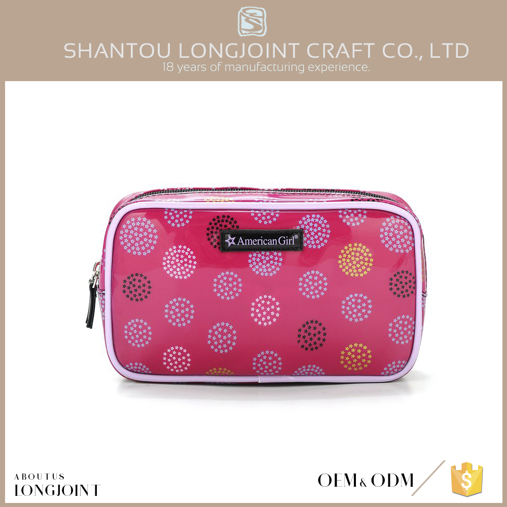 Custom design pink pvc cosmetic bag for ladies