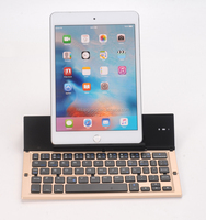 Aluminum Folding Bluetooth BT Keyboard with Internal Stand for Tablet PC/ Smartphone for iPhone 6S Plus/iPad