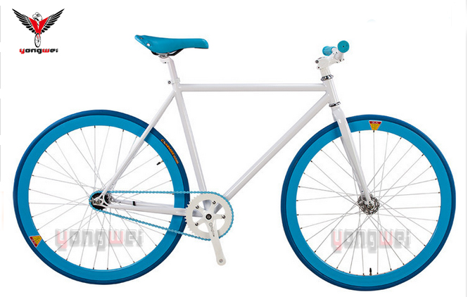 OEM blue color fixie bike wholesale 700C steel fixie bike fixed gear bike with EN certificate in total white