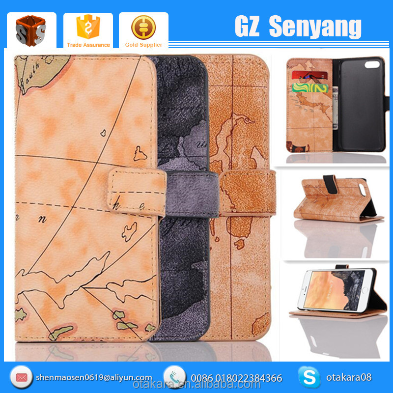 Map Printed High Quality PU Leather Universal Mobile Phone Punch Case For Iphone 7