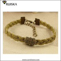 2015 Caroline DIY Braid Suede Bracelet With Alloy Bead