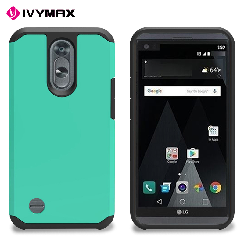 Hybrid Dual Layer Defender Protective Case Cover for K10 (2017) ,phone case for LG LV5, Metro PCs, T-Mobile (Blue)