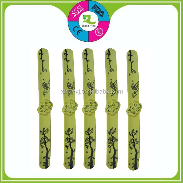 Custom print citronella oil anti mosquito repellent silicone slap band